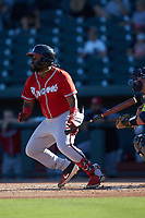 Trey Harris (2) of the Rome Braves follows through on his swing against the Columbia Fireflies at Segra Park on May 13, 2019 in Columbia, South Carolina. The Fireflies walked-off the Braves 2-1 in game one of a doubleheader. (Brian Westerholt/Four Seam Images)