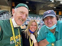 OAKLAND, CA - SEPTEMBER 19: Photographers Michael Zagaris, Brad Mangin, and Jean Fruth pose for a picture after the game between the San Francisco Giants and Oakland Athletics at the Oakland Coliseum on Saturday, September 19, 2020 in Oakland, California. (Photo by Brad Mangin)