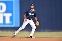 Asheville Tourists second baseman Coco Montes (5) reacts to the ball during a game against the West Virginia Power at McCormick Field on May 30, 2019 in Asheville, North Carolina. The  Power defeated the Tourists 8-3. (Tony Farlow/Four Seam Images)