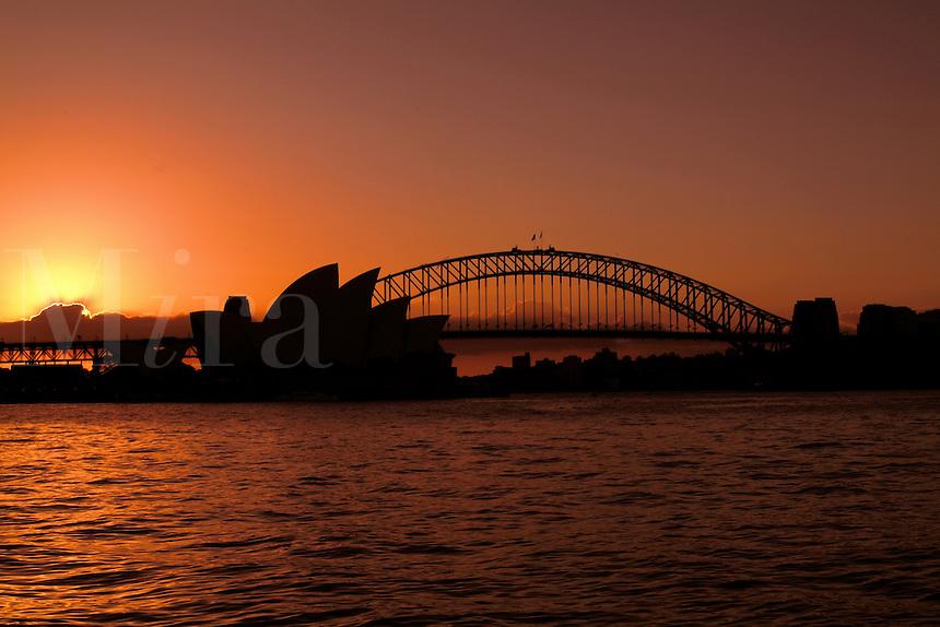 Sunset night photo of Sydney harbour Bridge and Sydney Opera House Sydney New South Wales Australia