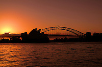 Sunset night photo of Sydney harbour Bridge and Sydney Opera House Sydney New South Wales Australia