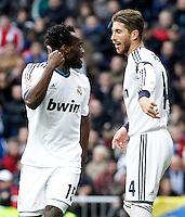 Real Madrid's Michael Essien (l) and Sergio Ramos during La Liga match.March 02,2013. (ALTERPHOTOS/Acero) /NortePhoto