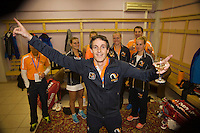 Moskou, Russia, Februari 7, 2016,  Fed Cup Russia-Netherlands, Team celebration, Guus van Berkel takes the lead<br /> Photo: Tennisimages/Henk Koster