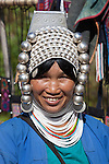 Myanmar, (Burma), Shan State, Kengtung: Loimi-Akha woman with silver balled headdress | Myanmar (Birma), Shan Staat, Kengtung: Frau des Loimi-Akha Volksstammes traegt prachtvollen, silbernen Haarschmuck