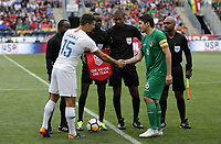 Chester, PA - Monday May 28, 2018: Eric Lichaj, Ronald Raldes during an international friendly match between the men's national teams of the United States (USA) and Bolivia (BOL) at Talen Energy Stadium.