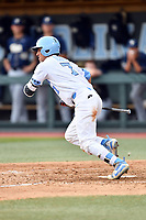 North Carolina Tar Heels left fielder Dallas Tessar (7) swings at a pitch during a game against the Pittsburgh Panthers at Boshamer Stadium on March 17, 2018 in Chapel Hill, North Carolina. The Tar Heels defeated the Panthers 4-0. (Tony Farlow/Four Seam Images)