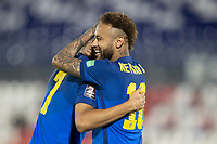 08th June 2021; Defensores del Chaco Stadium, Asuncion, Paraguay; Qatar 2022 qualifiers; Paraguay versus Brazil;  Neymar of Brazil celebrates his goal with Richarlison in the 4th minute 0-1