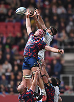 1st October 2021;  Ashton Gate Stadium, Bristol, South Gloucestershire, England; Gallagher Premier League rugby, Bristol Bears versus Bath Rugby: Ed Holmes of Bristol Bears wins the lineout ball from Josh Bayliss of Bath