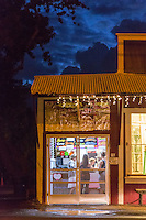 A night scene of a shave ice store in Hale'iwa Town, North Shore, O'ahu.