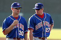 Auburn Doubledays pitchers Aaron Barrett #27 and Colin Bates #30 before a game against the Batavia Muckdogs at Dwyer Stadium on June 17, 2011 in Batavia, New York.  Auburn defeated Batavia in the season opener 6-1.  (Mike Janes/Four Seam Images)