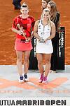Simona Halep, Roumania (l) celebrates the victory in the Madrid Open Tennis 2016 Final match in presence of Slovakia's Dominika Cibulkova, Finalist .May, 7, 2016.(ALTERPHOTOS/Acero)a