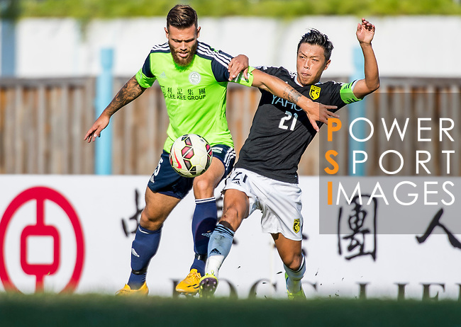 Vincent Lucas Weijl of Wofoo Tai Po (L) competes for the ball with Kin Man Tong of Sun Pegasus FC (R) during the HKFA Premier League between Wofoo Tai Po vs Sun Pegasus at the Tai Po Sports Ground on 22 November 2014 in Hong Kong, China. Photo by Aitor Alcalde / Power Sport Images