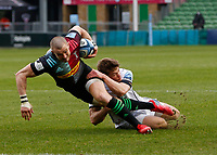 20th March 2021; Twickenham Stoop, London, England; English Premiership Rugby, Harlequins versus Gloucester; Harlequins, Gloucester; Mike Brown of Harlequins being brought down by Henry Trinder of Gloucester