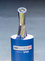 ORLANDO, FL - FEBRUARY 24: The SheBelieves Cup sits on the field during a game between Brazil and Canada at Exploria Stadium on February 24, 2021 in Orlando, Florida.