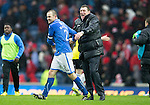 St Johnstone v Aberdeen...13.04.14    William Hill Scottish Cup Semi-Final, Ibrox<br /> Dave Mackay and manager Tommy Wright celebrate at full time<br /> Picture by Graeme Hart.<br /> Copyright Perthshire Picture Agency<br /> Tel: 01738 623350  Mobile: 07990 594431
