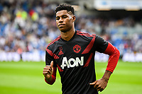 Marcus Rashford of Manchester United (10) Warms up  during the Premier League match between Brighton and Hove Albion and Manchester United at the American Express Community Stadium, Brighton and Hove, England on 19 August 2018. Photo by Edward Thomas / PRiME Media Images.