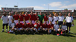 Leigh RMI 0, FC United of Manchester 0, 16/07/2005. Hilton Park, pre-season friendly. The United squad line up for a team photograph prior to kick-off. FC United of Manchester were established by dissident Manchester United supporters in the wake of the Malcolm Glazer takeover of their club. They were admitted to the North West Counties League prior to the 2005-06. Photo by Colin McPherson.