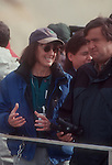 Hanford Reach National Monument, Nature Conservancy's Laura Smith speaking to then DOE Secretary Bill Richardson (right) boat trip on Hanford Reach, Columbia River, prior to ceremony handing over Hanford Reach buffer lands from Dept Energy to US Fish and Wildlife, main step in creating the Monument. 1999, .