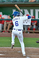 Moises Perez (6) of the Ogden Raptors at bat against the Orem Owlz in Pioneer League action at Lindquist Field on September 9, 2016 in Ogden, Utah. This was Game 1 of the Southern Division playoff. Orem defeated Ogden 6-5. (Stephen Smith/Four Seam Images)