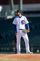 Mesa Solar Sox starting pitcher Erick Leal (40), of the Chicago Cubs organization, during an Arizona Fall League game against the Peoria Javelinas at Sloan Park on November 6, 2018 in Mesa, Arizona. Mesa defeated Peoria 7-5 . (Zachary Lucy/Four Seam Images)