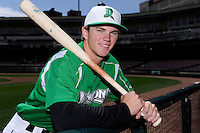 Dayton Dragons third baseman Tanner Rahier #8 poses for a photo before a game against the Bowling Green Hot Rods on April 21, 2013 at Fifth Third Field in Dayton, Ohio.  Bowling Green defeated Dayton 7-5.  (Mike Janes/Four Seam Images)
