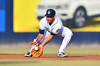 Asheville Tourists shortstop Coco Montes (5) fields the ball during a game against the Augusta GreenJackets at McCormick Field on June 5, 2019 in Asheville, North Carolina. The Tourists defeated the GreenJackets 4-3. (Tony Farlow/Four Seam Images)