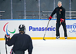 Sochi, RUSSIA - Mar 1 2014 -  Assistant Coach Curtis Hunt runs drills during the team's first practice before the 2014 Paralympics in Sochi, Russia.  (Photo: Matthew Murnaghan/Canadian Paralympic Committee)