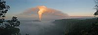 Early morning Halemaumau plume viewed from Kilauea Iki, Hawaii Volcanoes National Park, Big Island