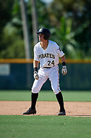 GCL Pirates first baseman Kyle Mottice (24) leads off second base during a game against the GCL Yankees West on August 2, 2018 at Pirate City Complex in Bradenton, Florida.  GCL Pirates defeated GCL Yankees West 6-2.  (Mike Janes/Four Seam Images)