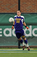 7 November 2012: University of Vermont Catamount Goalkeeper Conor Leland, a Junior from Richmond, VT, in action against the University of New Hampshire Wildcats at Virtue Field in Burlington, Vermont. The Wildcats shut out the top seeded Catamounts 1-0 in the America East playoff matchup. Mandatory Credit: Ed Wolfstein Photo