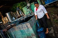 A Salvadoran farm worker collects blue foam from the top of the water solution (containing indigo precursors) in a concrete tank at the semi-industrial manufacture near San Miguel, El Salvador, 12 November 2016. For centuries, indigo, a natural deep blue dye extracted from the leaves of tropical plants (Indigofera), has been known to the native indigenous inhabitants of Central America who used the blue tincture to color their fabrics and pottery. Although demand for natural indigo dropped significantly at the end of 19th century when a synthetic indigo was firstly introduced, commercialization of natural indigo has risen again during the last decades. Small-scale indigo farms, processing the crop on sustainable and ecological basis, are growing throughout the country, returning El Salvador to the place of the main natural indigo producer in Latin America.