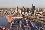 Seattle, skyline, aerial, Port of Seattle, Container piers, Terminal 46, Central Business District, Elliott Bay, Puget Sound, Washington State, Pacific Northwest,