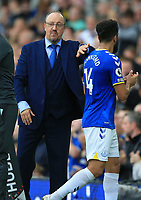 25th September 2021; Goodison Park, Liverpool, England; Premier League football, Everton versus Norwich; Everton manager Rafa Benitez pats Andros Townsend of Everton on the back as he is substituted during the second half