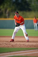 Steve Rabe (68), from Byram Township, New Jersey, while playing for the Orioles during the Baseball Factory Pirate City Christmas Camp & Tournament on December 27, 2017 at Pirate City in Bradenton, Florida.  (Mike Janes/Four Seam Images)