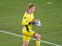 WASHINGTON, DC - SEPTEMBER 12: Ryan Meara #18 of the New York Red Bulls makes a save during a game between New York Red Bulls and D.C. United at Audi Field on September 12, 2020 in Washington, DC.