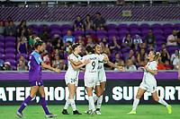 Orlando, FL - Saturday October 12, 2019: Reign F.C. celebrate a goal , Orlando Pride vs Reign FC Stars at Exploria Stadium.