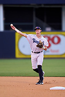 Tampa Tarpons shortstop Trey Sweeney (4) throws to first base during a game against the Clearwater Threshers on August 10, 2021 at George M. Steinbrenner Field in Tampa, Florida.  (Mike Janes/Four Seam Images)
