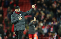 Liverpool manager Jurgen Klopp acknowledges the Anfield crowd with a wave as his side exit the Champions League <br /> <br /> Photographer Rich Linley/CameraSport<br /> <br /> UEFA Champions League Round of 16 Second Leg - Liverpool v Atletico Madrid - Wednesday 11th March 2020 - Anfield - Liverpool<br />  <br /> World Copyright © 2020 CameraSport. All rights reserved. 43 Linden Ave. Countesthorpe. Leicester. England. LE8 5PG - Tel: +44 (0) 116 277 4147 - admin@camerasport.com - www.camerasport.com