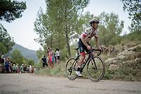 Valerio Conti (ITA/UAE-Emirates) up the steepest part of the brutal Mas de la Costa: the final climb towards the finish<br /> <br /> Stage 7: Onda to Mas de la Costa (183km)<br /> La Vuelta 2019<br /> <br /> ©kramon