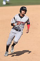 Donavan Tate (2) of the Lake Elsinore Storm runs the bases during a game against the Inland Empire 66ers at San Manuel Stadium on May 27, 2015 in San Bernardino, California. Lake Elsinore defeated Inland Empire, 12-9. (Larry Goren/Four Seam Images)