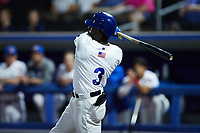 Jared Mitchell (3) of the High Point Rockers follows through on his swing against the Lexington Legends at Truist Point on June 16, 2021, in High Point, North Carolina. The Legends defeated the Rockers 2-1. (Brian Westerholt/Four Seam Images)