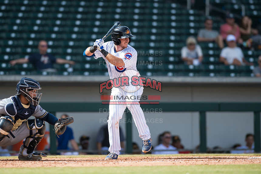 Mesa Solar Sox catcher P.J. Higgins (12), of the Chicago Cubs organization, at bat in front of catcher Mario Feliciano (6) during an Arizona Fall League game against the Peoria Javelinas at Sloan Park on October 11, 2018 in Mesa, Arizona. Mesa defeated Peoria 10-9. (Zachary Lucy/Four Seam Images)