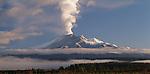 Volcanic plume over Mount Ruapehu in the Manawatu/Whanganui Region of New Zealand.