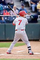 Spokane Indians second baseman Nick Urbanus #7 at bat during a game against the Everett AquaSox at Everett Memorial Stadium on June 20, 2012 in Everett, WA.  Everett defeated Spokane 9-8 in 13 innings.  (Ronnie Allen/Four Seam Images)