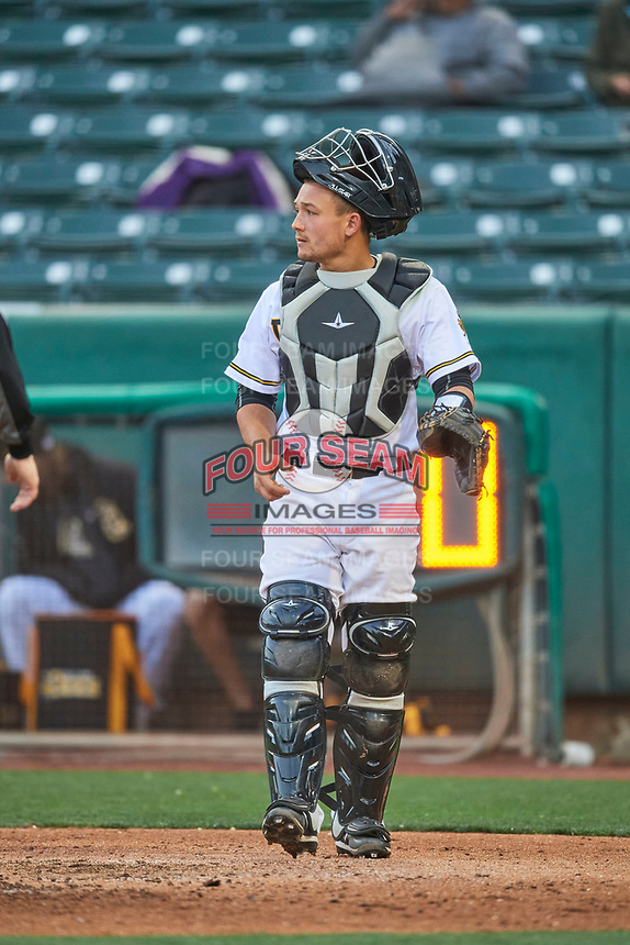 Matt Thaiss (6) of the Salt Lake Bees on defense against the Reno Aces at Smith's Ballpark on May 8, 2021 in Salt Lake City, Utah. The Aces defeated the Bees 6-5. (Stephen Smith/Four Seam Images)