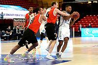 31-03-2021: Basketbal: Donar Groningen v ZZ Feyenoord: Groningen , Donar speler Nesta Agasi  met Feyenoord speler Yamill Wip