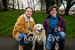 Rachel Templeman and James Clifford taking Daisy the dog for a walk in the Tralee town park on Thursday.