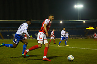 Fleetwood Town's Victor Nirennold (right) in action with Bury's Greg Leigh (left) during the The Checkatrade Trophy match between Bury and Fleetwood Town at Gigg Lane, Bury, England on 9 January 2018. Photo by Juel Miah/PRiME Media Images.