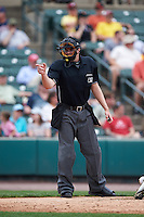 Umpire Jeremy Riggs during a game between the Indianapolis Indians and Rochester Red Wings on May 26, 2016 at Frontier Field in Rochester, New York.  Indianapolis defeated Rochester 5-2.  (Mike Janes/Four Seam Images)