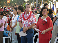 December 4 2004, Manila, Philippines<br />  Manila Mayor Lito Atienza (L) and his wife Beng (R)  during a gathering at  Remedios Park in Malate, Manila.<br /> <br /> Photo (c) 2004) P Roussel / Images Distribution